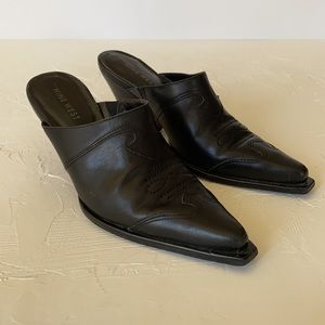Nine West Black Leather Cowboy Boot Mules
